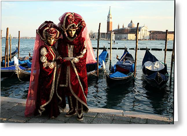 Nadine And Daniel Across San Giorgio Greeting Card by Donna Corless
