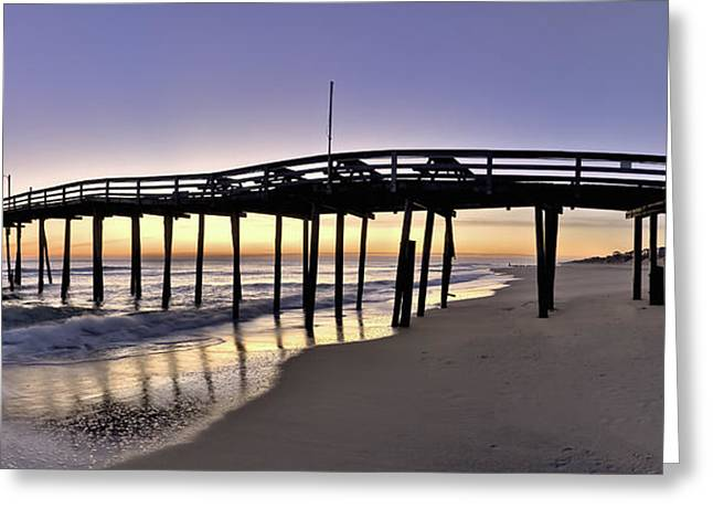 Nags Head Fishing Pier At Sunrise - Outer Banks Scenic Photography Greeting Card