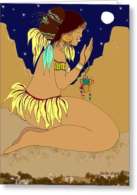 Naked Prayers Greeting Card by Dede Shamel Davalos