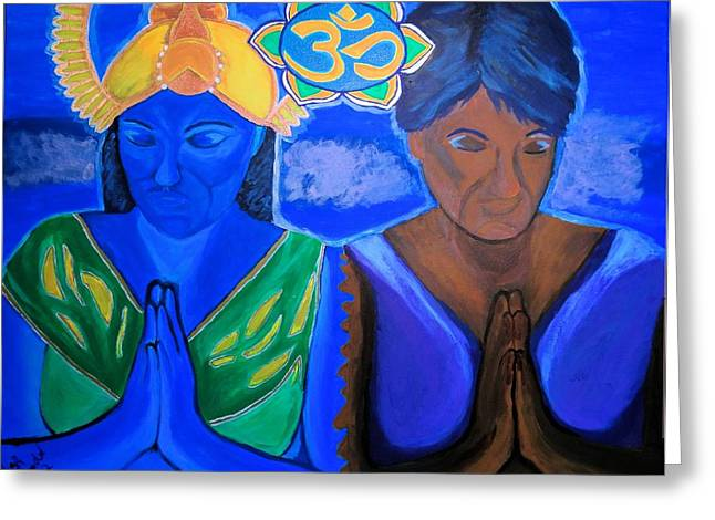 Greeting Card featuring the painting Namaste-we Are One by Lisa Brandel