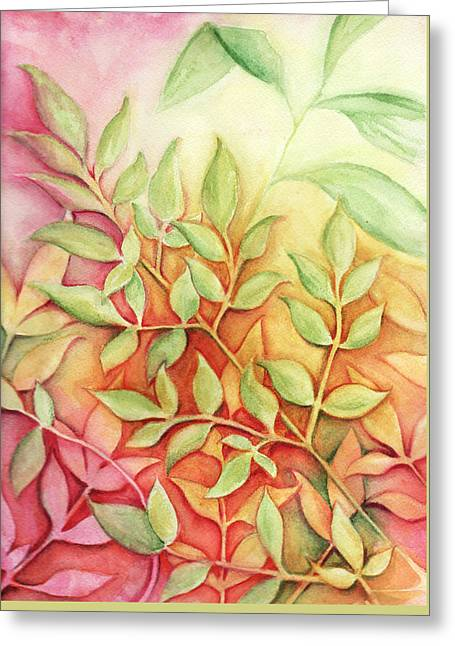 Greeting Card featuring the painting Nandina Leaves by Carla Parris