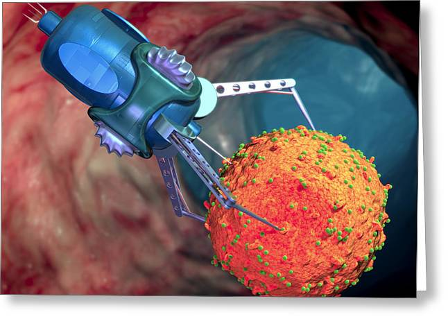 Nanorobot Treating Infected Cell Greeting Card