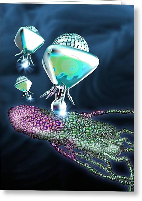 Nanorobots Attacking A Bacterium Greeting Card