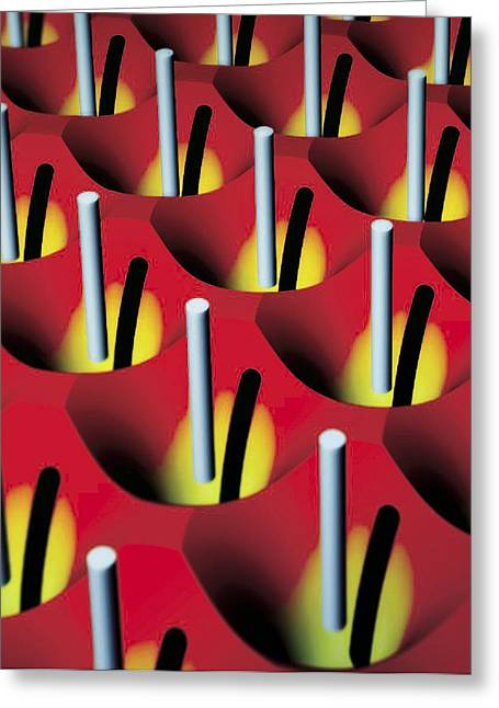 Nanowire Tweezers, Computer Artwork Greeting Card by Peidong Yanguc Berkeley