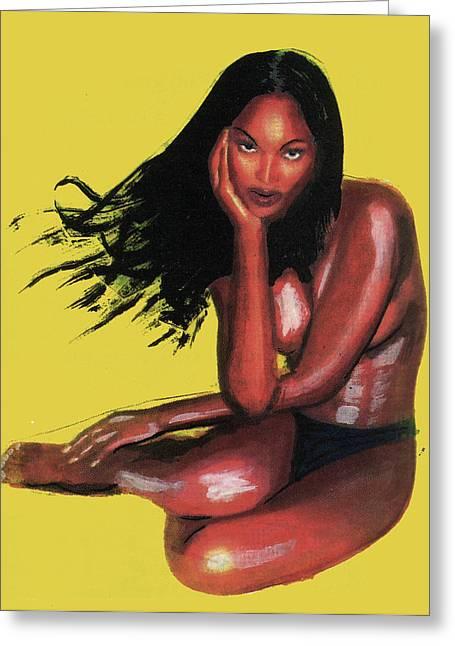 Naomi Campbell Greeting Card by Emmanuel Baliyanga