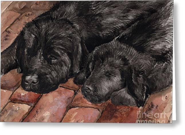 Greeting Card featuring the painting Nap Time by Nancy Patterson