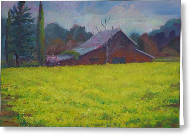 Napa Valley Mustards And Red Barn Greeting Card by Deirdre Shibano
