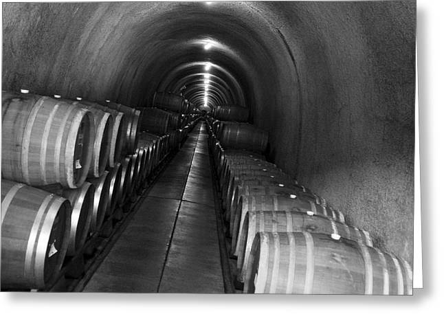 Napa Wine Barrels In Cellar Greeting Card