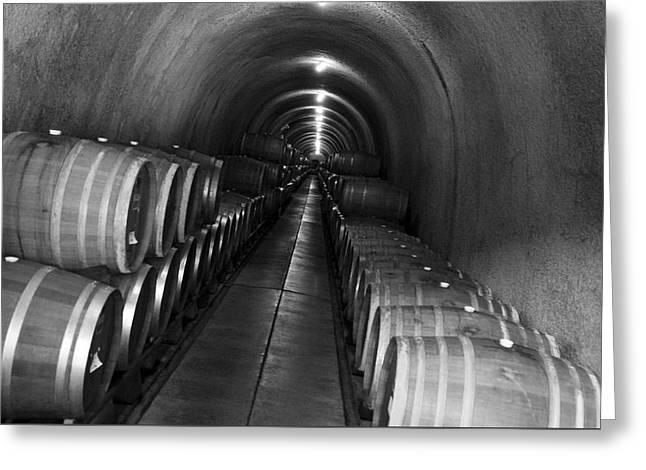 Napa Wine Barrels In Cellar Greeting Card