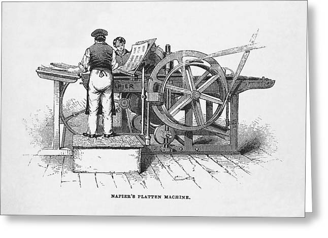 Napier's Printing Machine Greeting Card by Science, Industry & Business Librarynew York Public Library
