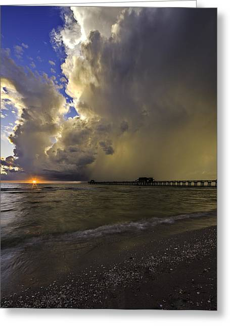 Naples Pier Storm Sunset Greeting Card