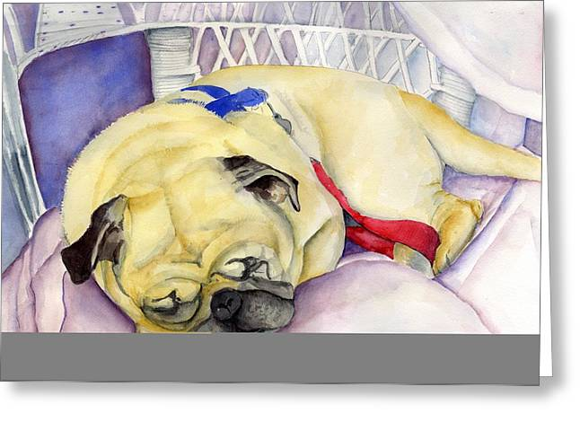 Naptime For Baden Greeting Card by Paul Cummings