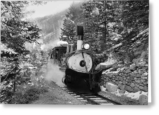Narrow Gauge Memories Black And White Greeting Card by Ken Smith
