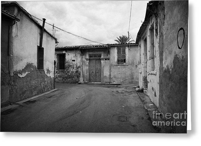 narrow run down city streets in northern nicosia TRNC turkish republic of northern cyprus Greeting Card by Joe Fox