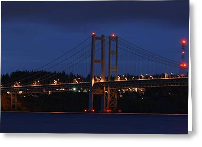Narrows Bridges At Dusk Greeting Card