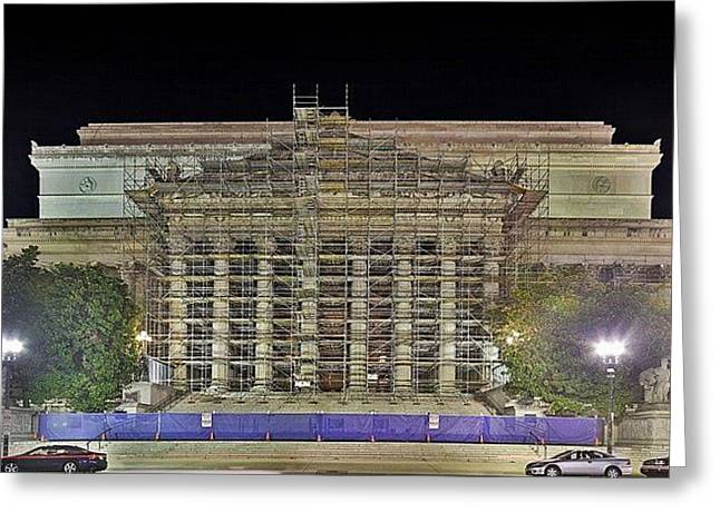 Greeting Card featuring the photograph National Archives Building Renovation by Metro DC Photography