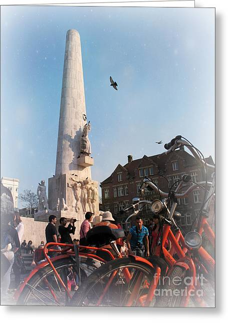 National Memorial In Amsterdam Greeting Card by Trude Janssen
