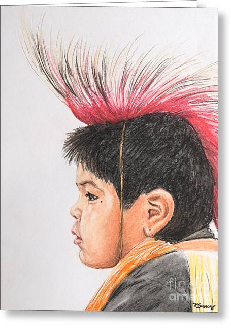 Native American Boy With Headdress Greeting Card