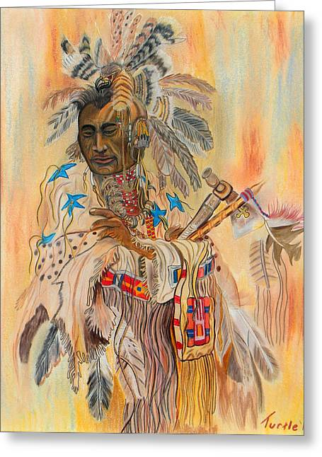 Native American Colored Pencil Rendition Of A Larry Fanning Oil Painting Greeting Card by The Nothing Machine Ink