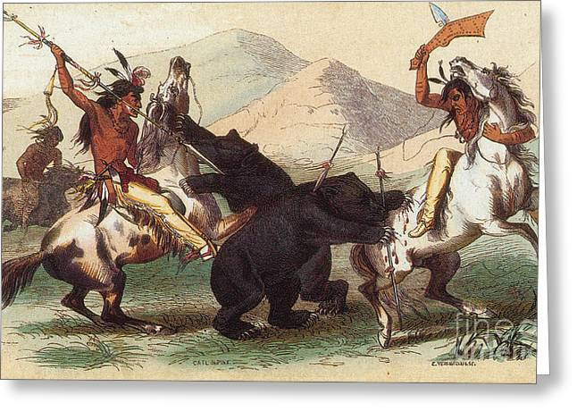 Native American Indian Bear Hunt, 19th Greeting Card by Photo Researchers