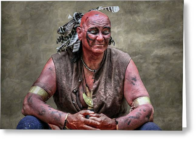 Native American Reenactor Portrait Greeting Card by Randy Steele