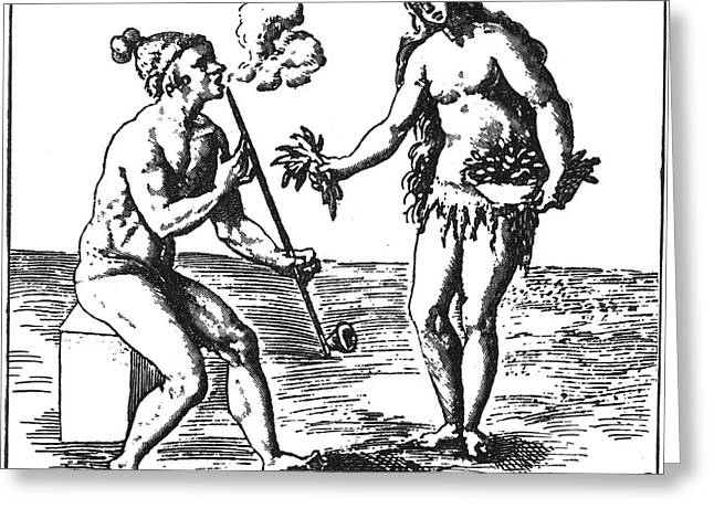 Native American Smoking, 1591 Greeting Card