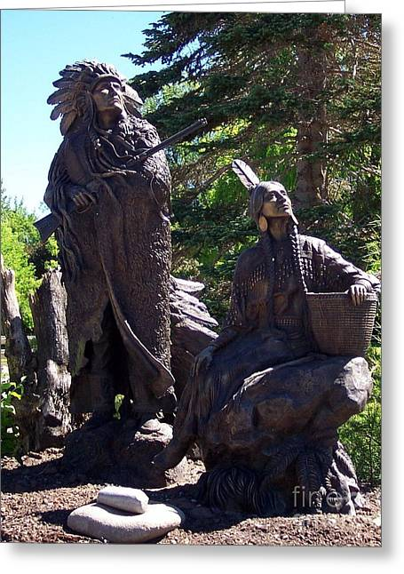 Greeting Card featuring the photograph Native American Statue by Chalet Roome-Rigdon