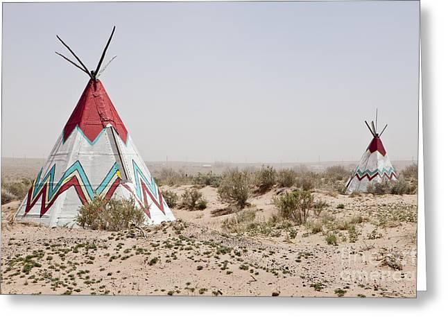 Native American Tipi Replicas Greeting Card by Paul Edmondson