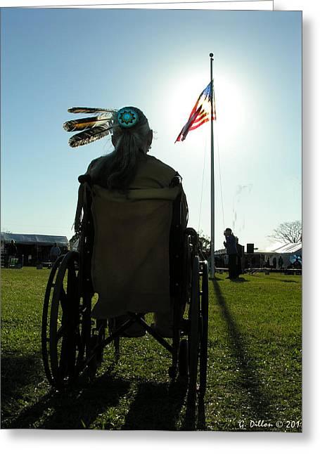Native American Veteran In Wheel Chair Greeting Card