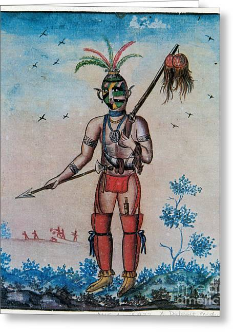 Native American With Scalps Mid-18th C Greeting Card by Photo Researchers
