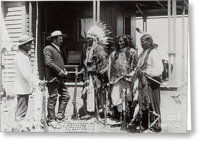 Native Americans Talking To American Greeting Card by Photo Researchers