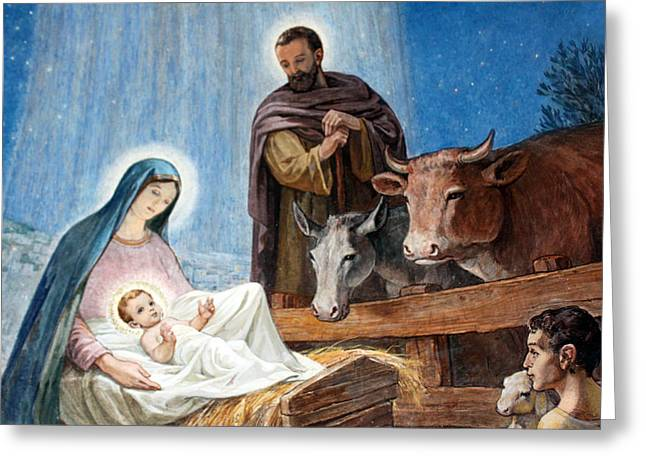 Nativity Painting At Shepherds Fields Greeting Card by Munir Alawi