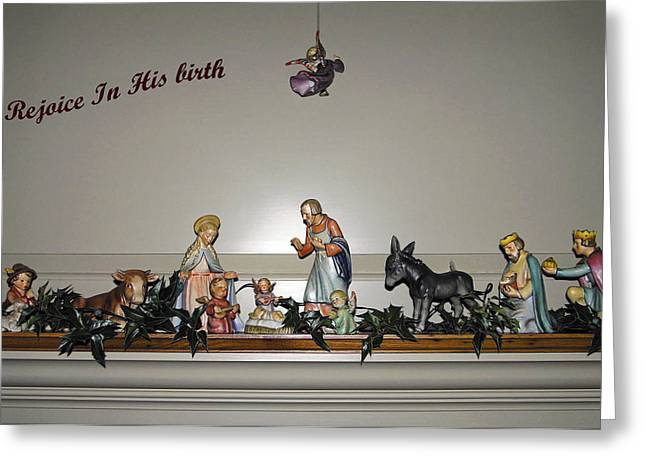 Nativity Set Greeting Card by Sally Weigand