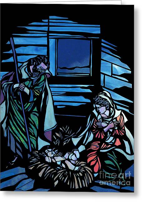Nativity Stained Glass Greeting Card by Methune Hively