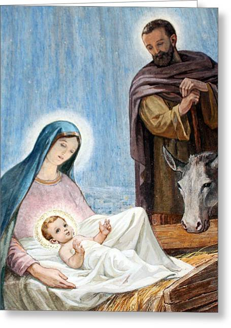 Nativity Story At Shepherds Fields Greeting Card by Munir Alawi
