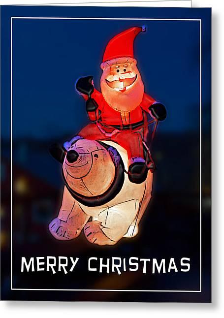 Nature Center Santa Card Greeting Card by John Haldane