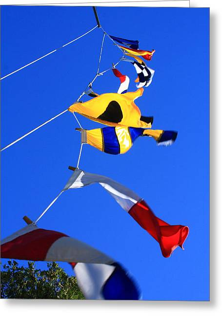 Greeting Card featuring the photograph Nautical Flags by Coby Cooper