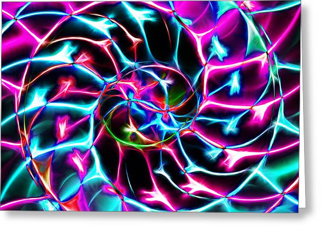Nautilus Shell Ying And Yang - Electric - V2 - Violet Greeting Card by Wingsdomain Art and Photography