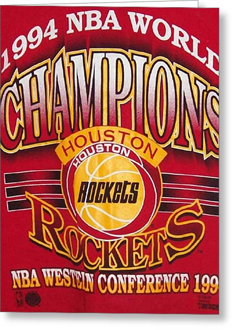 Nba 1994 World Champions Rockets Greeting Card by De Beall