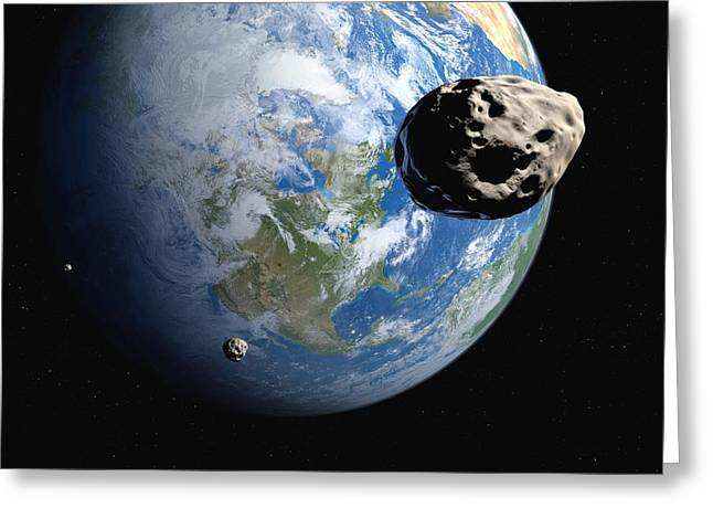 Near-earth Asteroids, Artwork Greeting Card by Detlev Van Ravenswaay