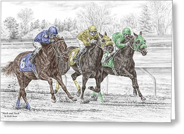 Neck And Neck - Horse Race Print Color Tinted Greeting Card by Kelli Swan