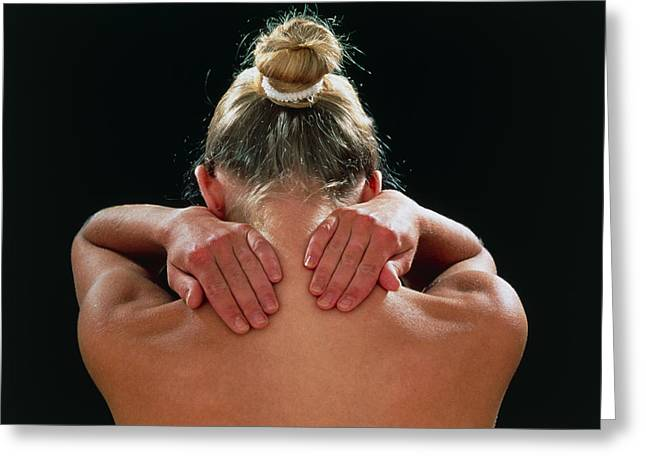 Neck/shoulder Pain:hands Of Woman Held Behind Neck Greeting Card