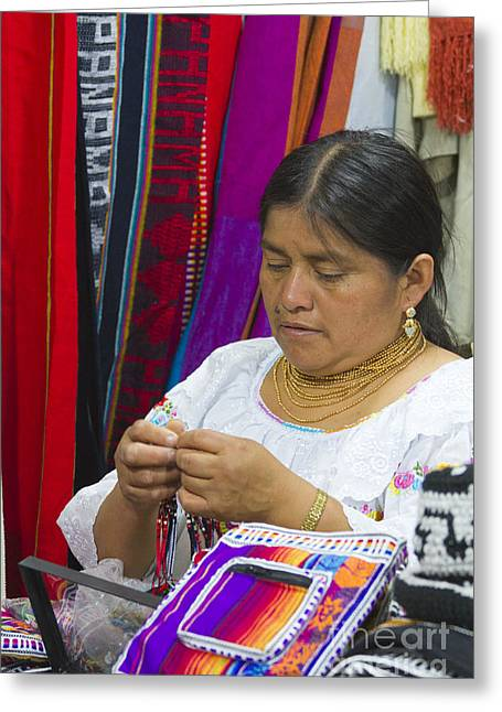 Needleworking Lady Greeting Card