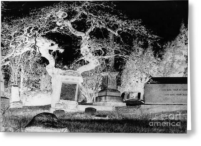 Negative Image Of Cemetary Greeting Card by JSM Fine Arts John Malone