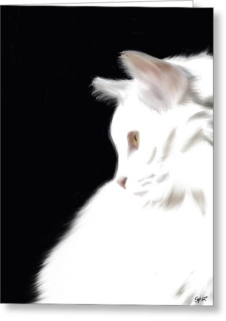 Negative Space Kitty Greeting Card by Stacy Parker