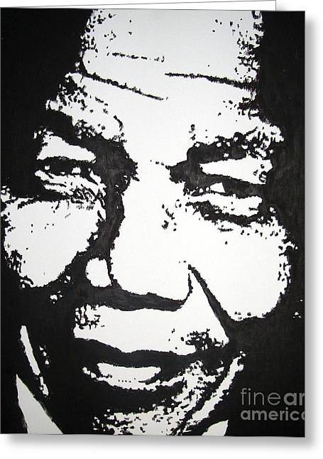 Nelson Mandela Greeting Card by Louise Van Zyl