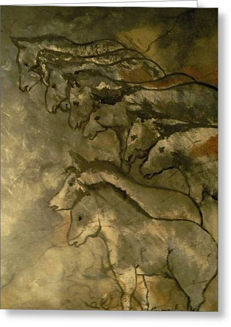 Neolithic Horses Greeting Card by John Connaughton