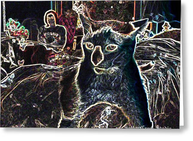Neon Cat Greeting Card by Sulfur Creek Studio