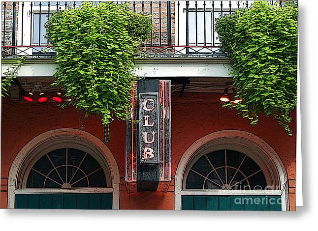 Neon Club Sign Bourbon Street Corner French Quarter New Orleans Poster Edges Digital Greeting Card by Shawn O'Brien