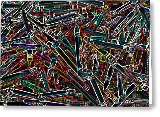 Neon Crayons Greeting Card by Bernadette Kazmarski